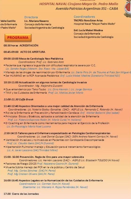 Cronograma Congreso de Enfermería - SAC